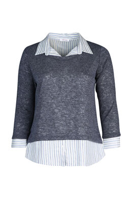 Trui met hemd in 2-in-1 effect, Indigo