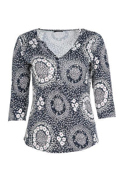 T-shirt 3/4 bedrukt met gomeffect - Marineblauw