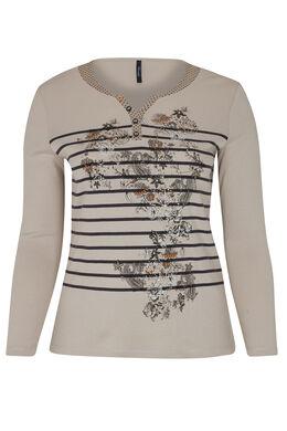 T-shirt met lijnen en bloemen, Beige