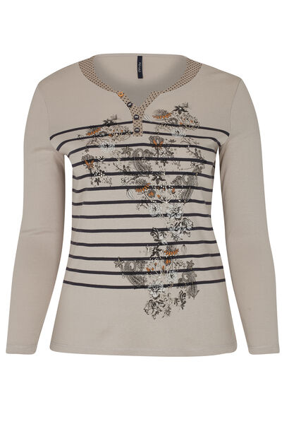 T-shirt met lijnen en bloemen - Beige