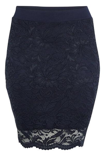 Rechte rok van kant - Marineblauw