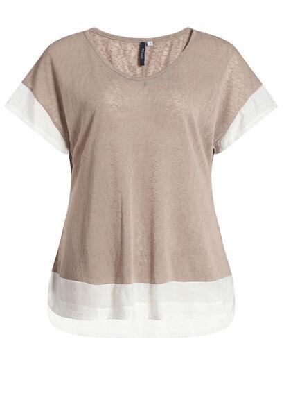 T-shirt met 2-in-1-effect - Zand