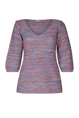 Gestreifter Pullover mit 3/4-Ärmeln, Multicolor