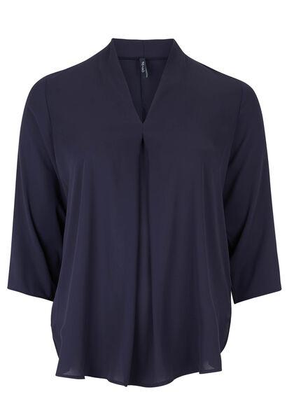 Ruime blouse van voile - Marineblauw