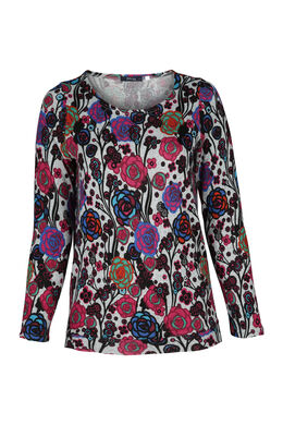 T-shirt met bloemenprint, Multicolor