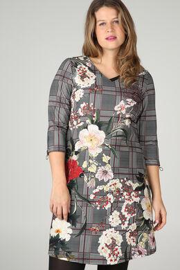 Robe imprimé carreaux et fleurs, Noir