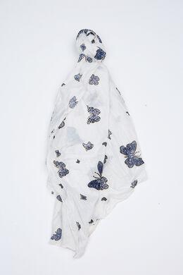 Sjaal met vlinderprint, Wit