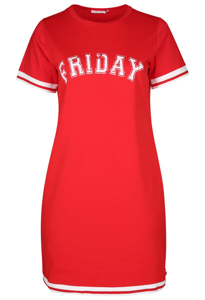 "Robe sportswear imprimé ""Friday"" - Rouge"
