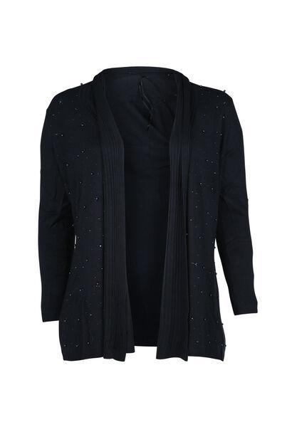 Vest met kralen op de slippen - Marineblauw