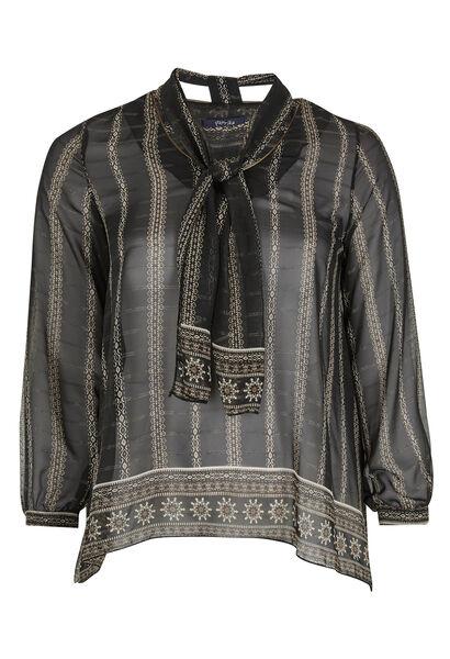 Ruime blouse van voile met lavallière - Zwart