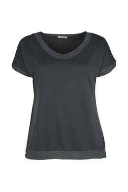 T-shirt encolure bord en lurex, Anthracite
