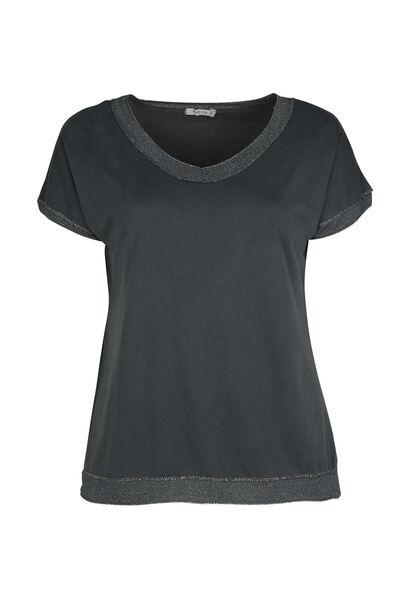 T-shirt met lurexboord - Antraciet