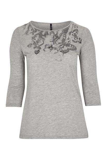 Katoenen T-shirt met vlinderprint - Gris Chine
