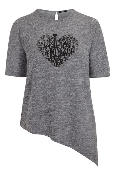 T-shirt in warm tricot met punt - Gris Chine