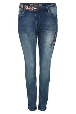 Jeans met geborduurde papegaai, Denim