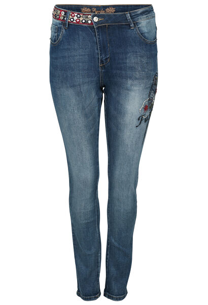 Jeans met geborduurde papegaai - Denim