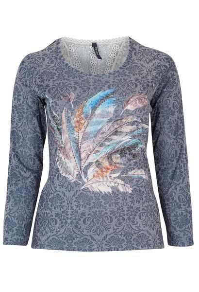 T-shirt print plumes sur fond fleuri - Indigo
