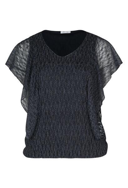 T-shirt in kant met gomprint - Marineblauw