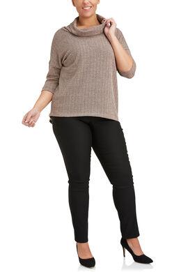 T-shirt met bolkraag van warm zigzagtricot, Blush