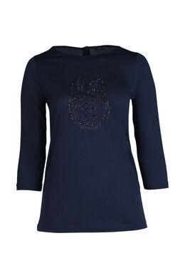 T-shirt met uil, Marineblauw