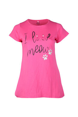 Long t-shirt imprimé chat, Fushia