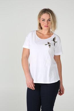 T-shirt geborduurde vogels en lovertjes, Wit