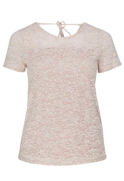 T-shirt van kanttricot met bloemenprint - Roze
