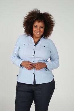 Klassieke blouse met knoopjes, Lichtblauw