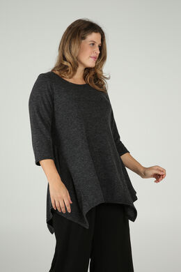Tuniek-T-shirt in warm tricot, Antraciet