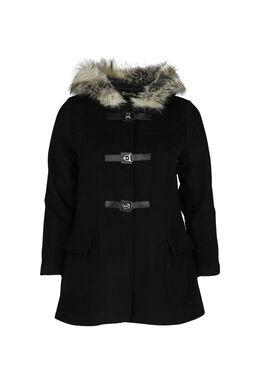 Manteau avec capuche en fausse fourrure, Noir