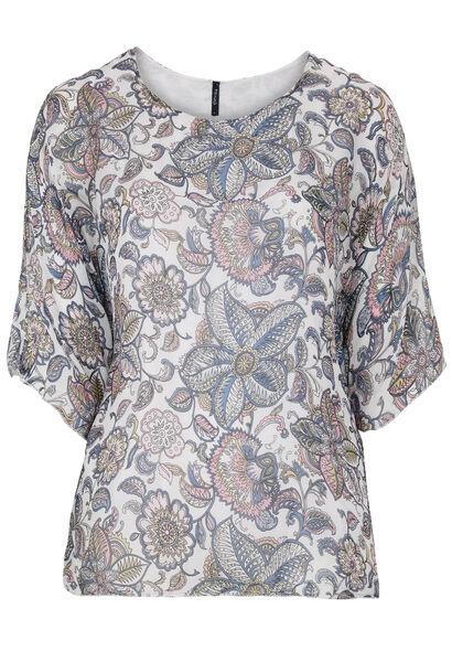 Capevormige zijden blouse met bloemetjes - Wit