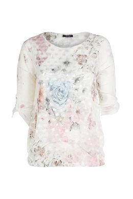 T-shirt met bloemen en vlinders, Blush