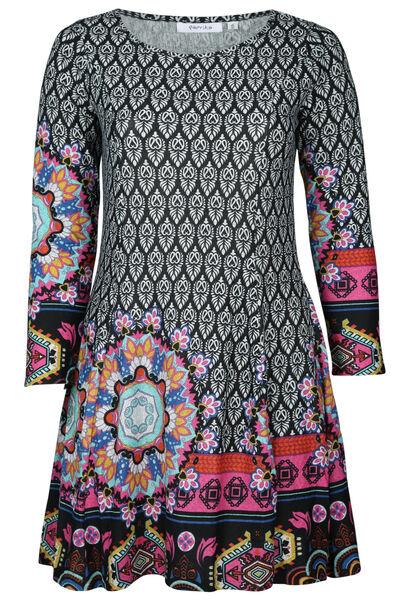 Jurk in bedrukt, warm tricot - Multicolor