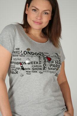 Bedrukt T-shirt, Gris Chine