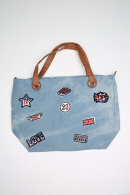 Sac en jeans avec patches, Denim