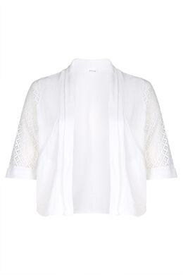 Veste coton avec de la dentelle, Blanc