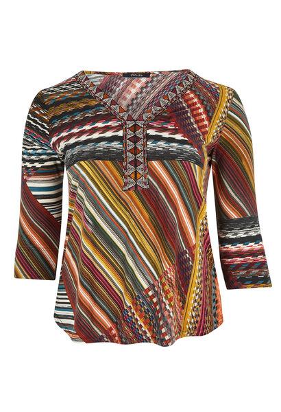 T-shirt van bedrukt fantasietricot - Multicolor