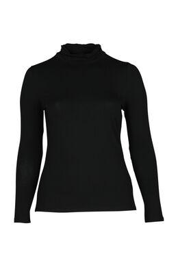 T-shirt met col, Zwart
