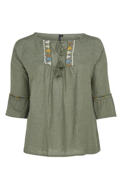 Linnen blouse met borststuk - Kaki