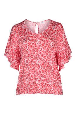 T-shirt met gomprint van rozetjes, Rood