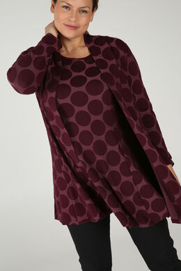 Long cardigan imprimé ronds, Prune