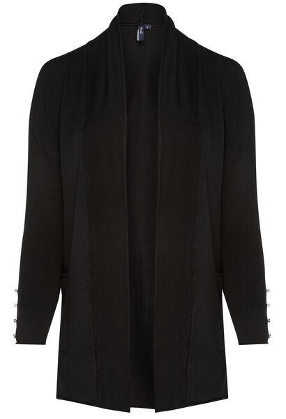 Lang vest met een blinkende draad - Zwart