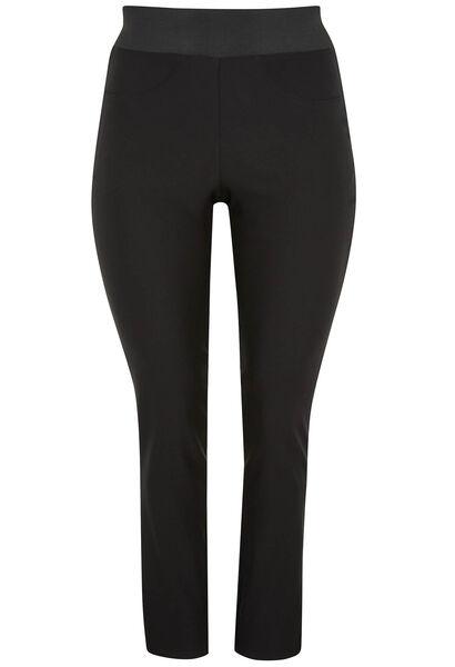 Geklede stretchbroek, elastische taille - Zwart