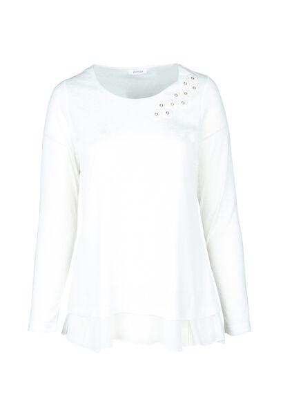 T-shirt met bloemen aan de hals - Ecru