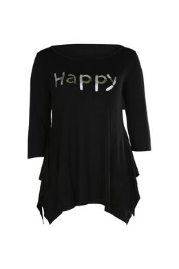 "T-shirt ""Happy"" en sequins et perles, Noir"