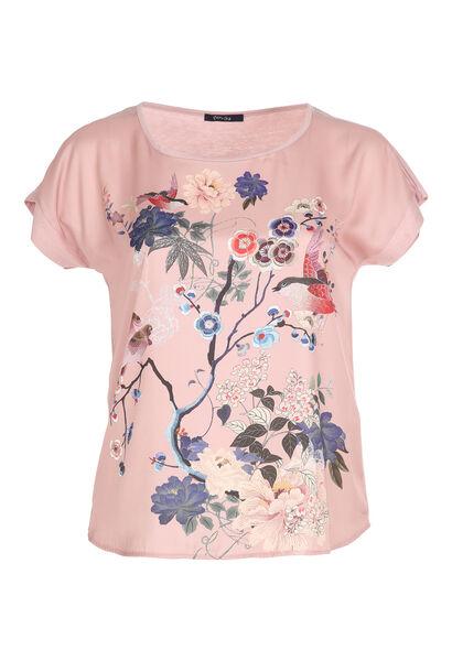 Satijnachtig T-shirt met Japanse print - Blush