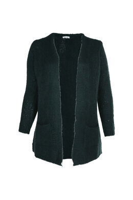 Long cardigan en tricot, Vert
