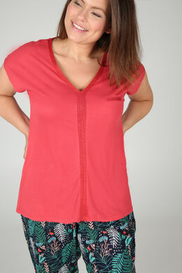 T-shirt in viscose, Oranje