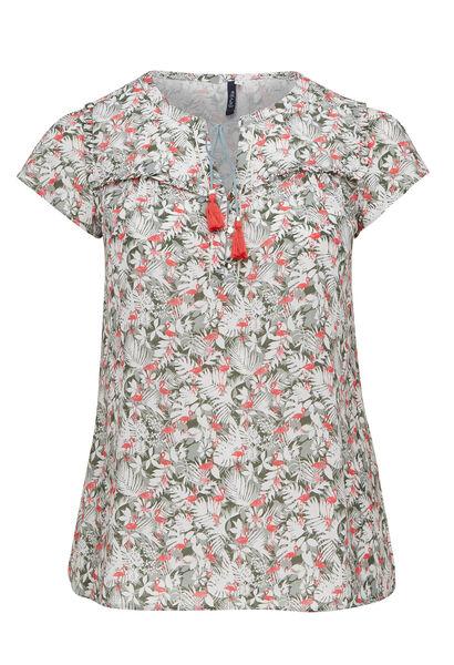 Soepele blouse met bloemenprint - Kaki