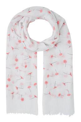 Foulard imprimé de fleurs, Blanc